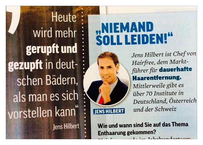 OK! Magazin: hairfree Experte Jens nimmt Stellung zu haarigen Problemen
