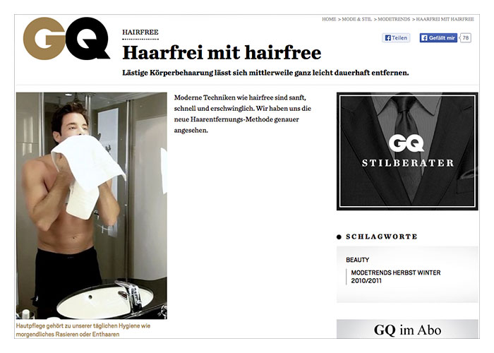 hairfree in der GQ